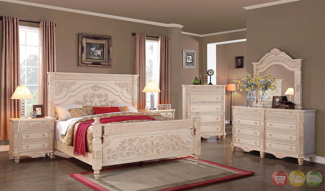 Lilly Antique Traditional Distressed Antique White Panel Bedroom Set With Full Extension Glides