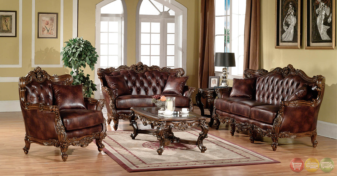 Lilly traditional dark wood formal living room sets with for Wooden living room furniture