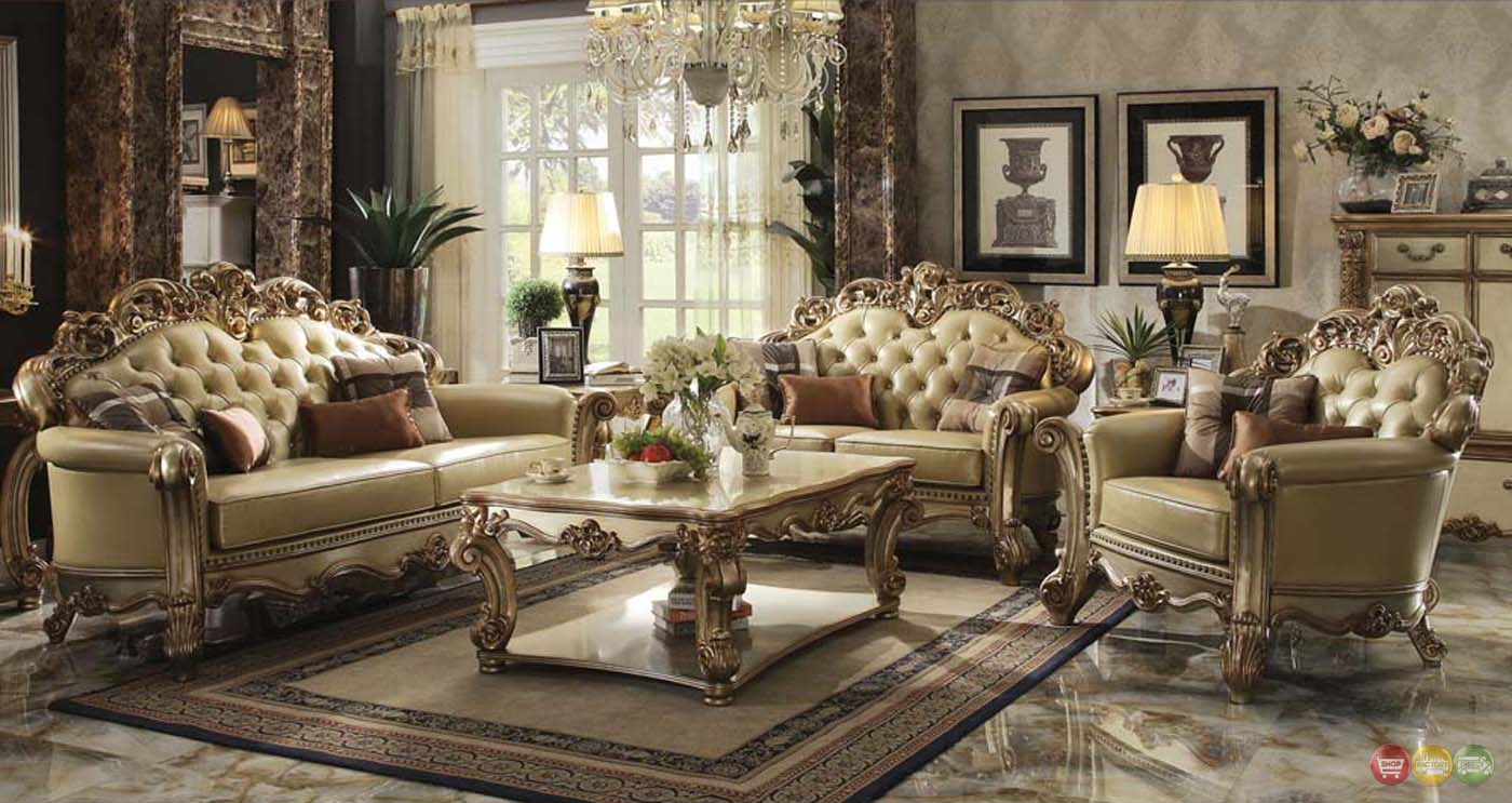 Vendome Traditional Gold Patina Formal Living Room