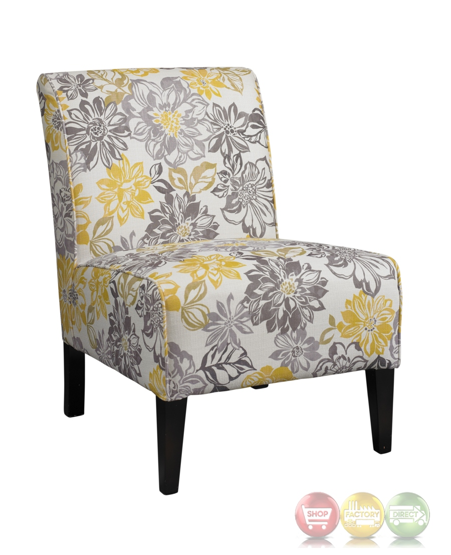 Lily Bridey Accent Chair With Grey And Yellow Floral Pattern