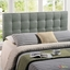 Lily Contemporary Fabric Button-tufted King Headboard, Gray