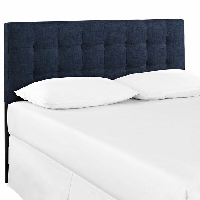 Lily Contemporary Fabric Button-tufted King Headboard, Navy