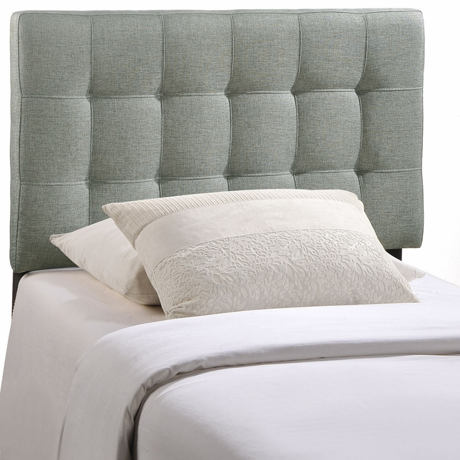 Lily Contemporary Fabric Button-tufted Twin Headboard, Gray