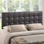 Lily Contemporary Vinyl Button-tufted King Headboard, Brown