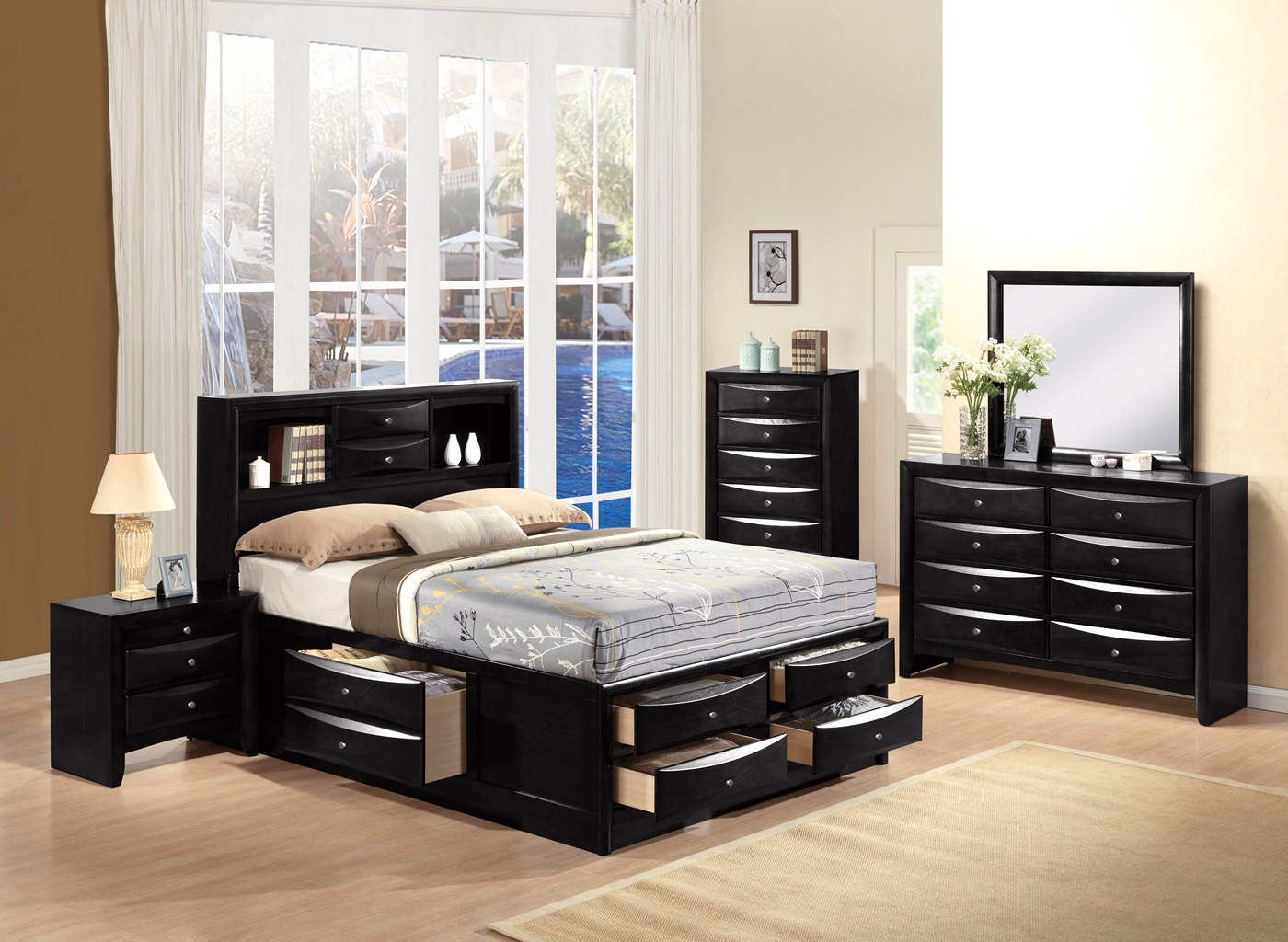 Limerick transitional 6 drawer storage queen platform bed for Bedroom furniture limerick