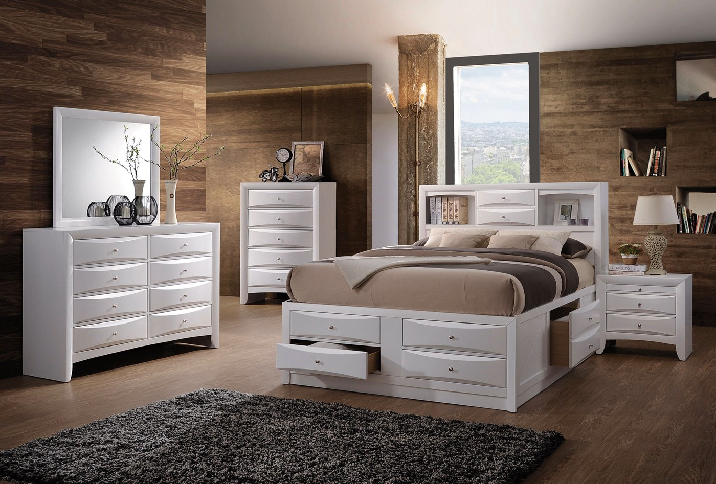Limerick transitional 6 drawer storage king platform bed for Bedroom furniture limerick