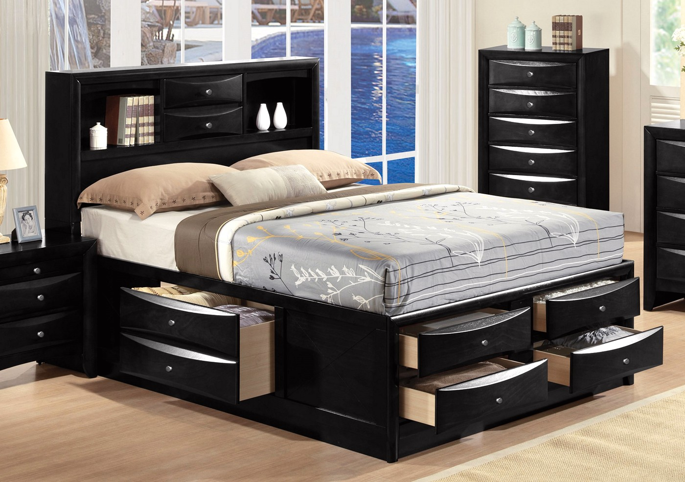 limerick transitional 4 pc storage queen platform bed in