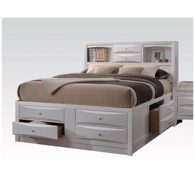Limerick Transitional 6 Drawer Storage Queen Platform Bed In White Finish