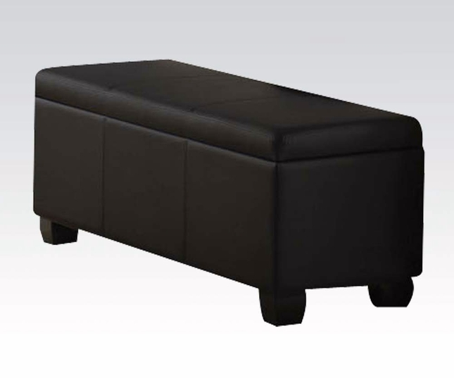 Limerick Transitional Bedroom Storage Bench In Black Faux Leather