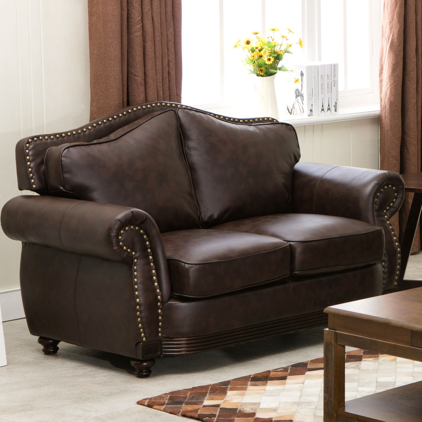 Linden traditional brown bonded leather sofa loveseat for Traditional leather furniture