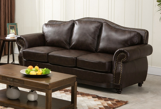 Linden Traditional Brown Bonded Leather Sofa With Nail Heads U0026 Wood Trim