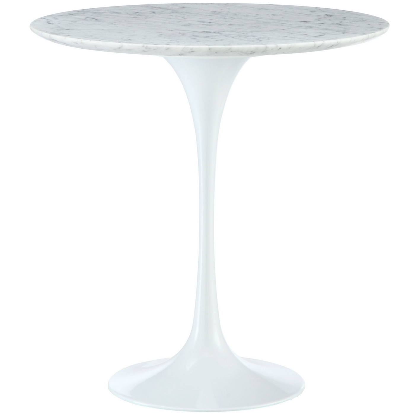 "Lippa 20"" Round Marble Top Side Table With Aluminum"