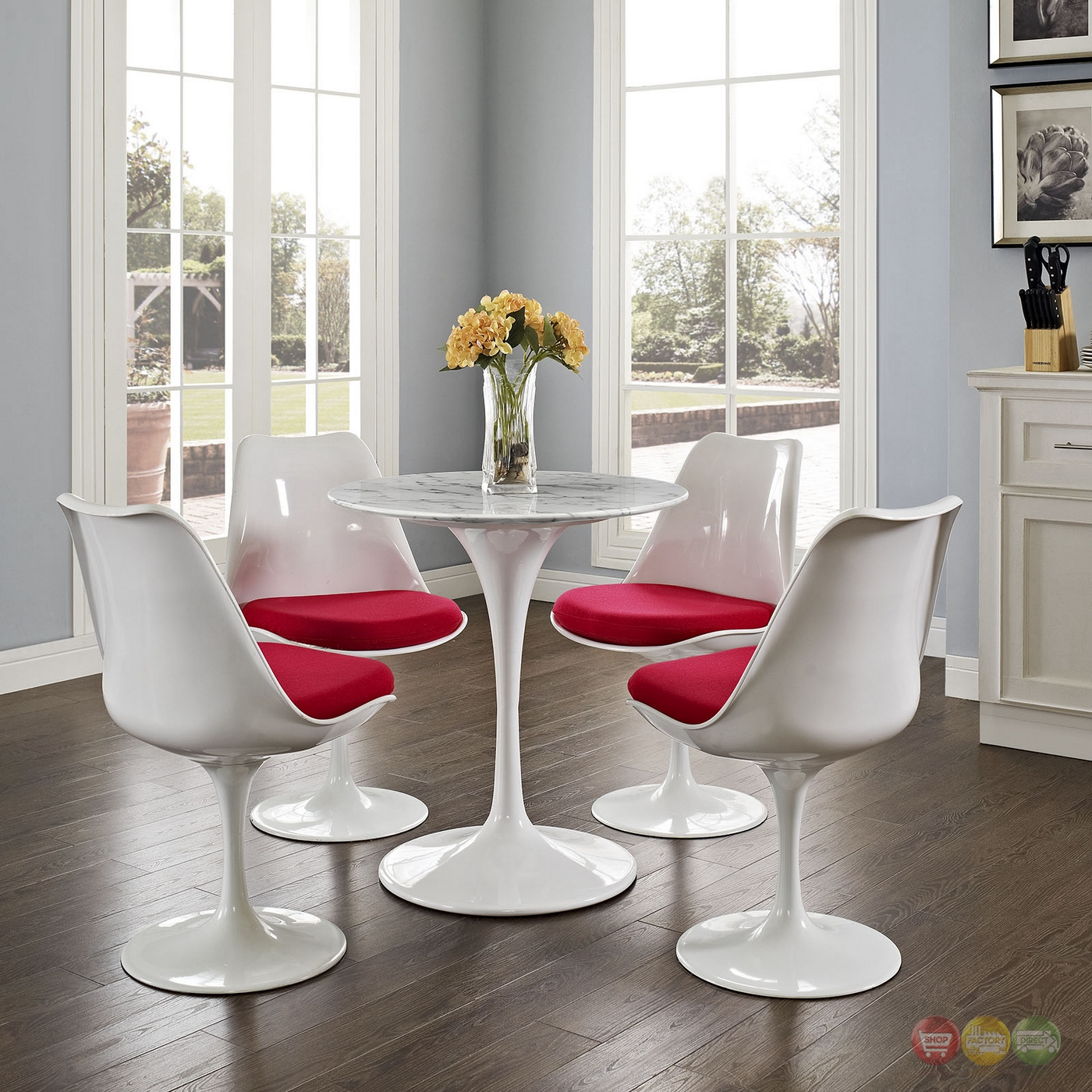 lippa 28 round faux marble dining table with lacquered finish white. Black Bedroom Furniture Sets. Home Design Ideas