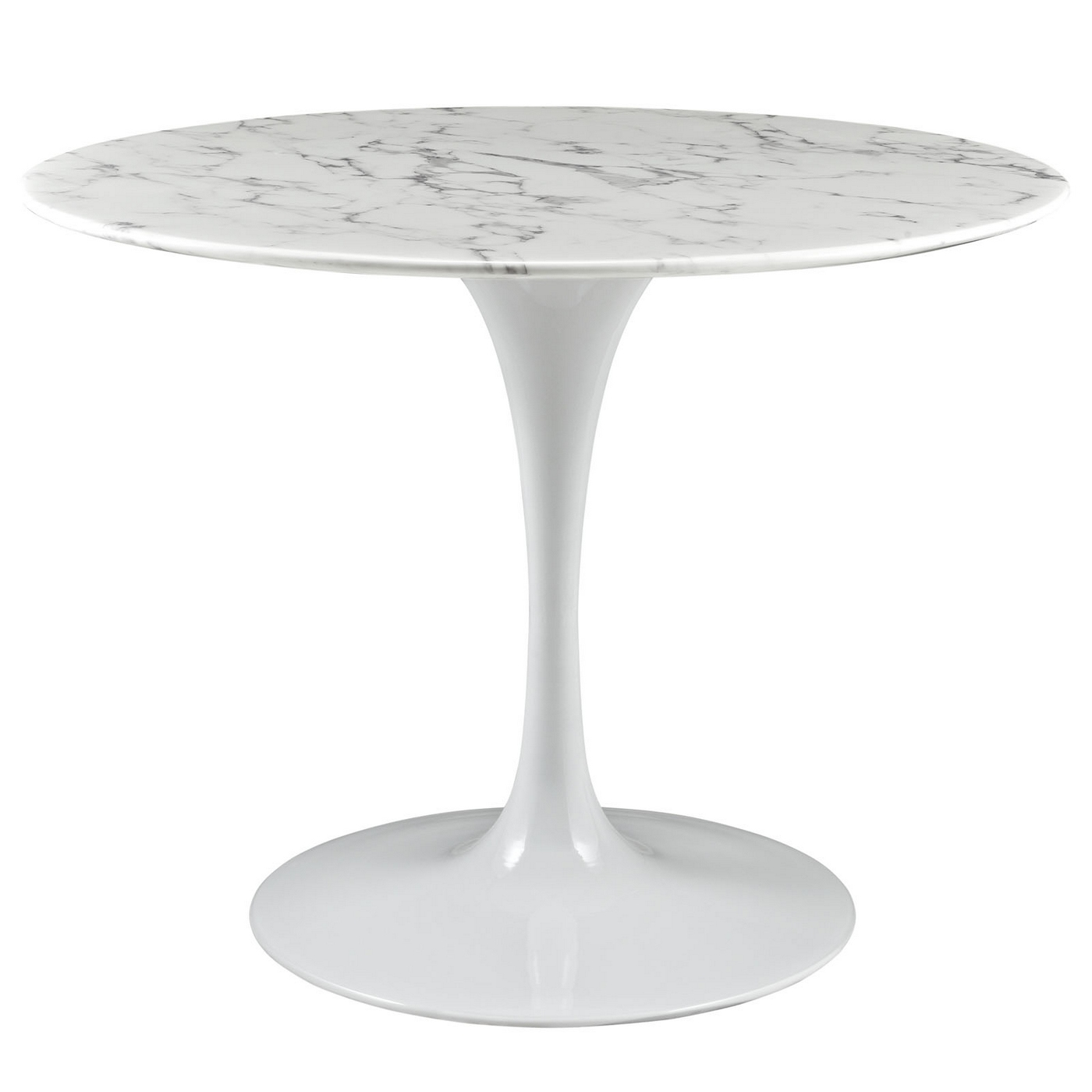 lippa 40 round faux marble dining table with lacquered finish white. Black Bedroom Furniture Sets. Home Design Ideas