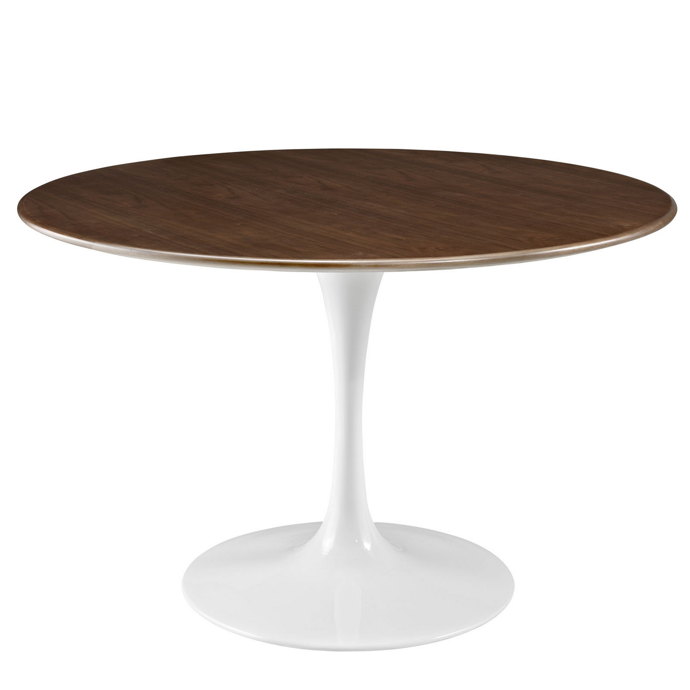 Lippa 47 round walnut top dining table with lacquered for Circular dining table