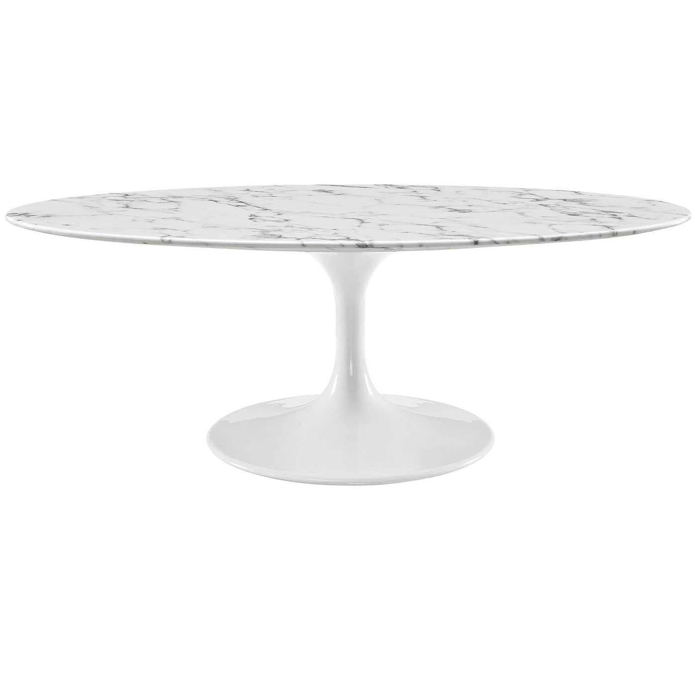 Lippa 48 oval shaped faux marble coffee table w metal lacquered base white Oval shaped coffee table