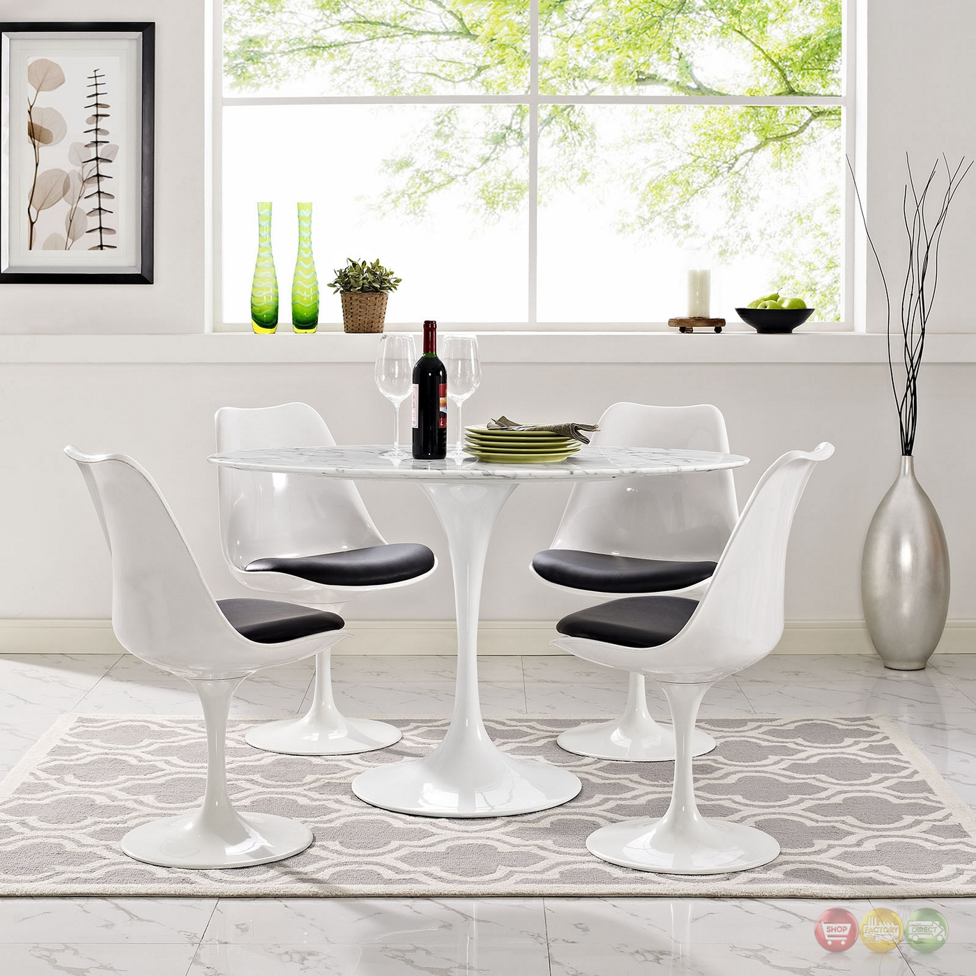 lippa 48 oval shaped faux marble dining table w metal lacquered base white. Black Bedroom Furniture Sets. Home Design Ideas