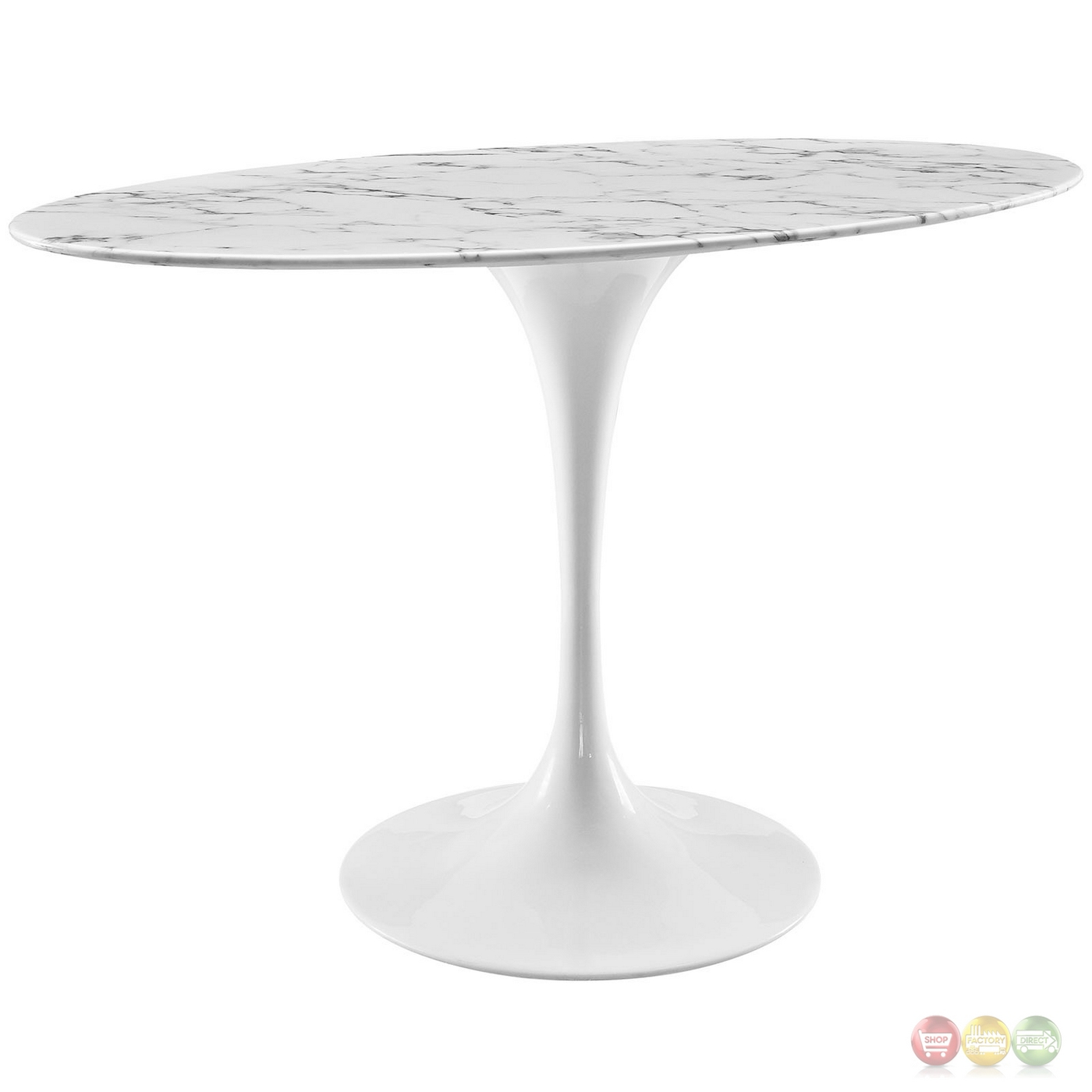 Lippa 48 Quot Oval Shaped Faux Marble Dining Table W Metal