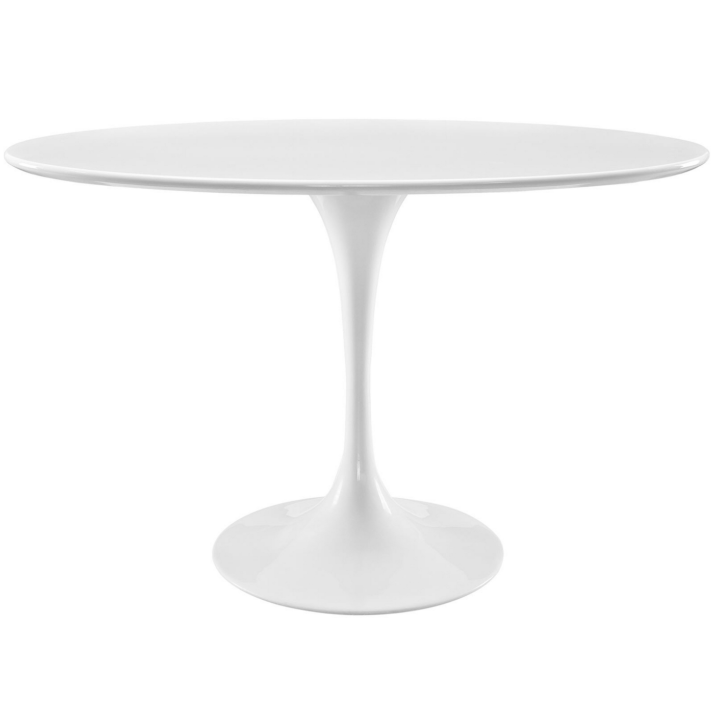 lippa 48 oval shaped wood dining table w metal lacquered base white. Black Bedroom Furniture Sets. Home Design Ideas