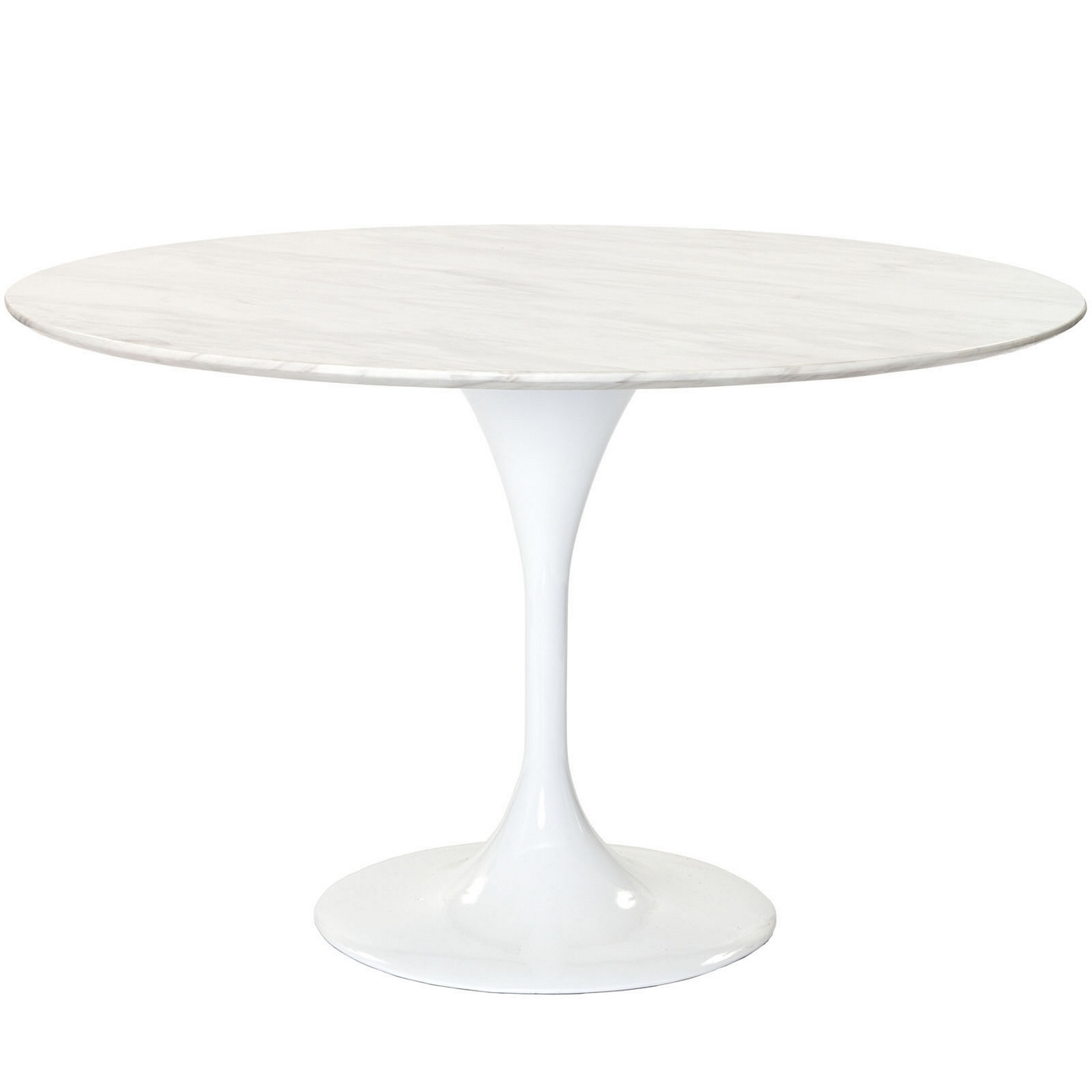 Lippa 48 round marble top dining table with lacquered for Round stone top dining table