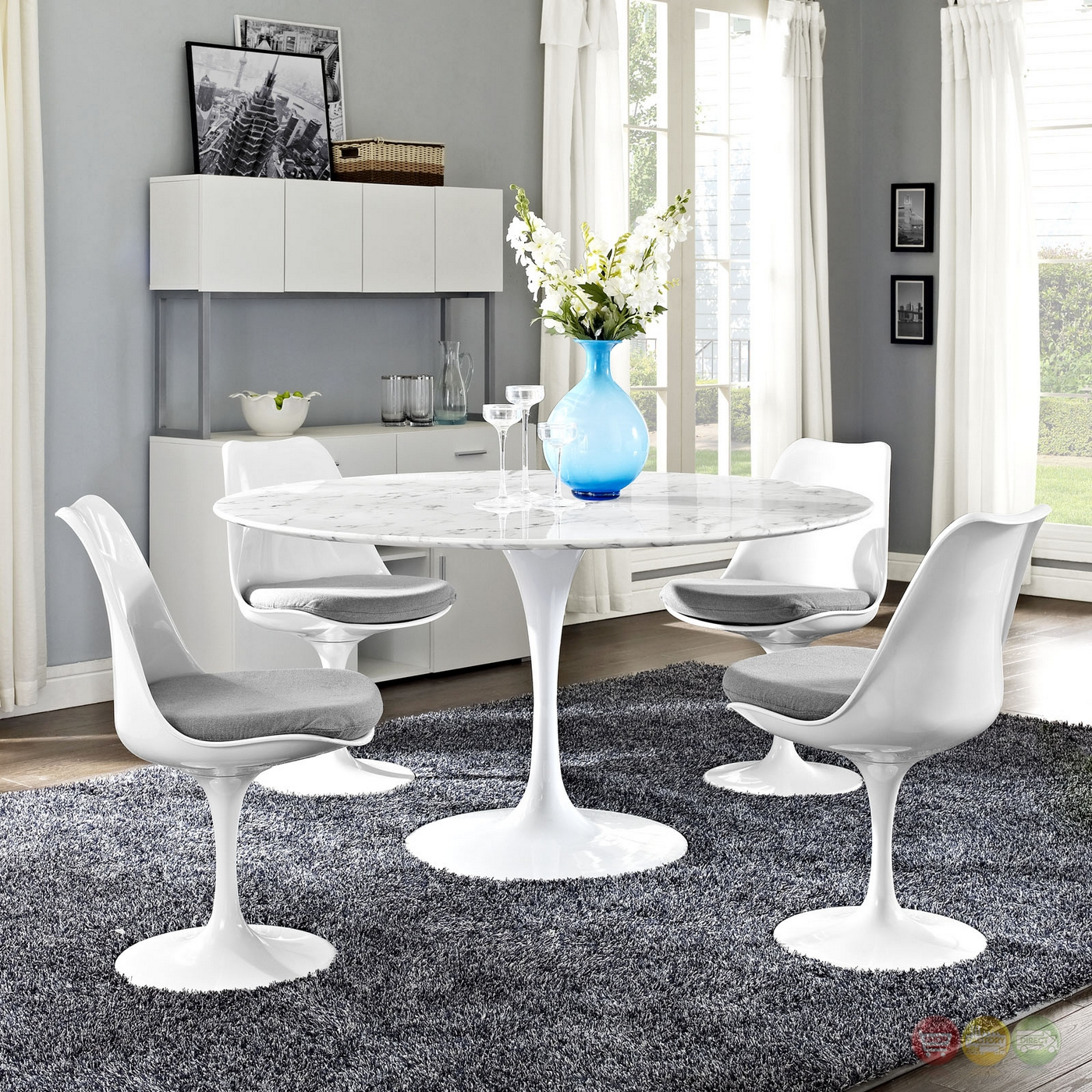 Lippa 54 Quot Round Faux Marble Dining Table With Lacquered