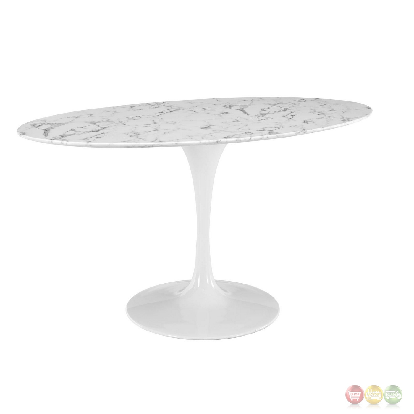 Lippa 60 Quot Oval Shaped Faux Marble Dining Table With