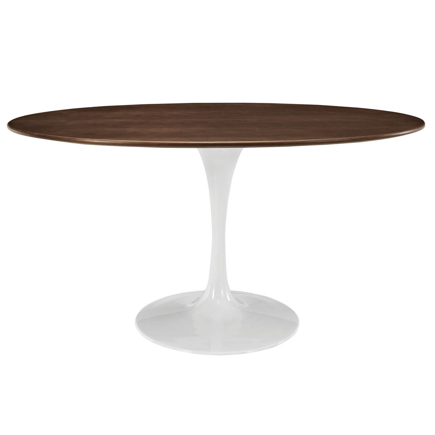 Lippa 60 oval shaped walnut top dining table with Oval dining table