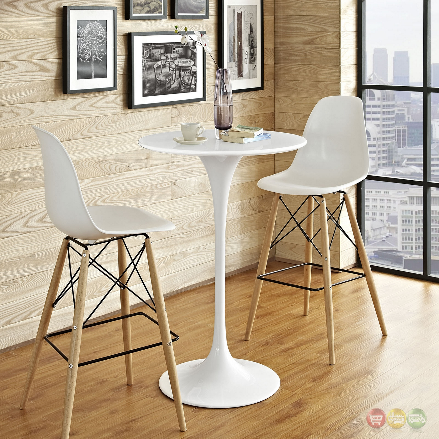 Lippa Modern 28 Quot Round Wood Bar Table With Lacquered Metal