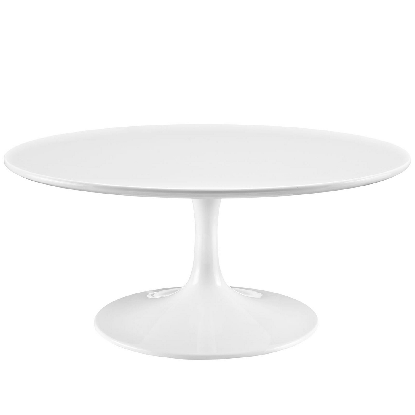 Lippa Modern 36 Round Pedestal Coffee Table With Lacquered Finish White