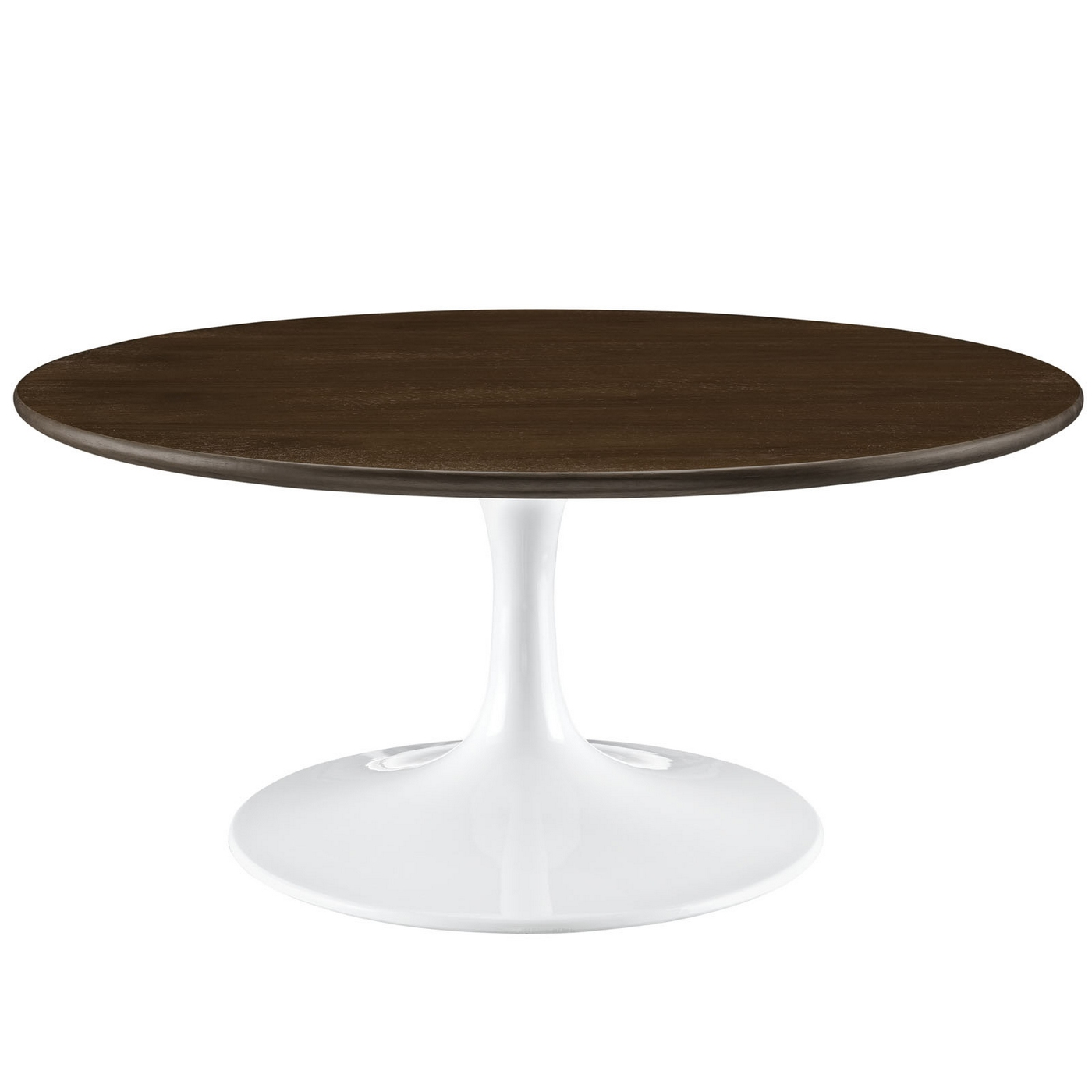 Lippa modern 36 round walnut coffee table with lacquered finish walnut Round coffee table modern