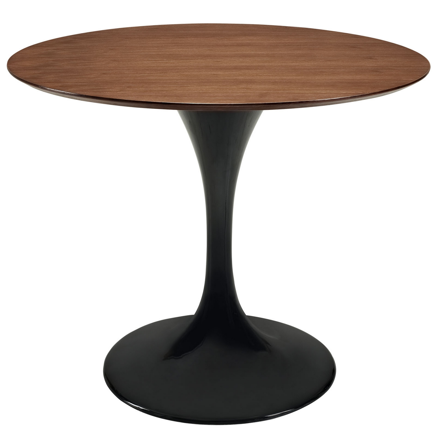 Lippa modern 36 walnut dining table w lacquered pedestal base black - Pedestal base for dining table ...
