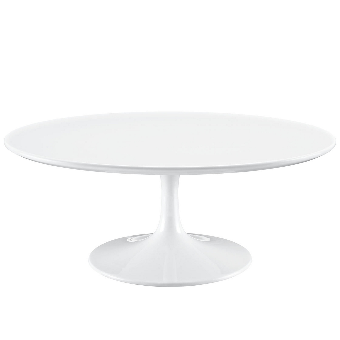 Lippa Modern 40 Round Pedestal Coffee Table With Lacquered Finish White