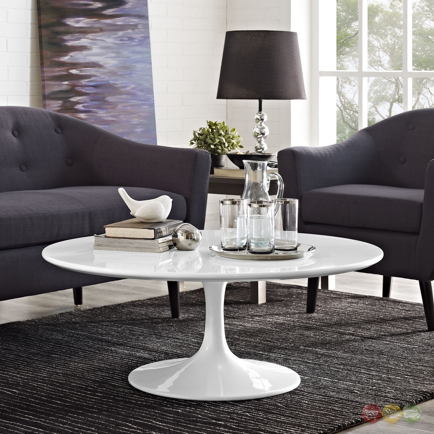 "Lippa Modern 40"" Round Pedestal Coffee Table With"