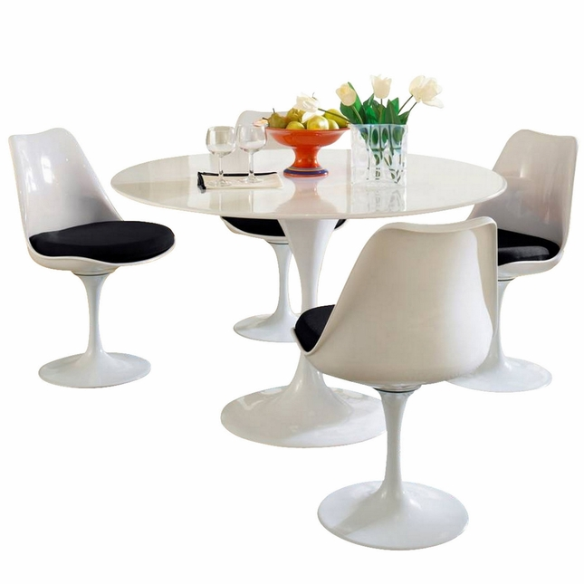Lippa Modern 5 Piece Fiberglass Dining Set With Lacquered Finish, Black