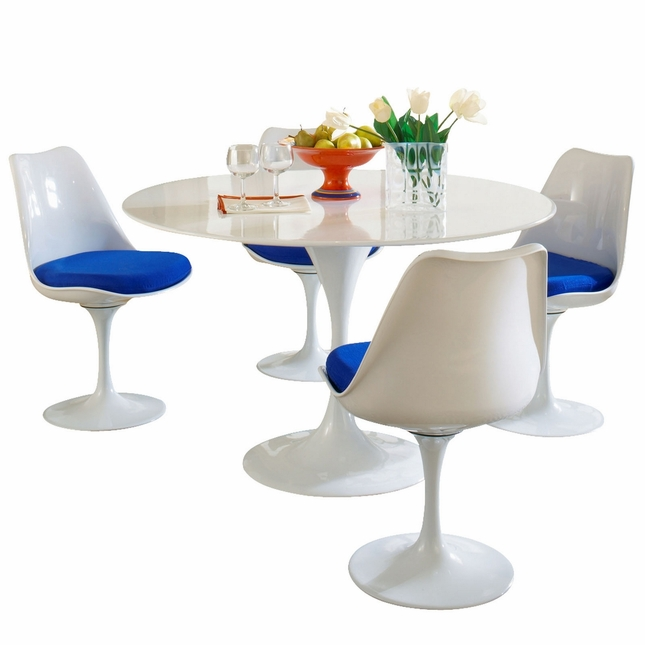 Lippa Modern 5 Piece Fiberglass Dining Set With Lacquered Finish, Blue