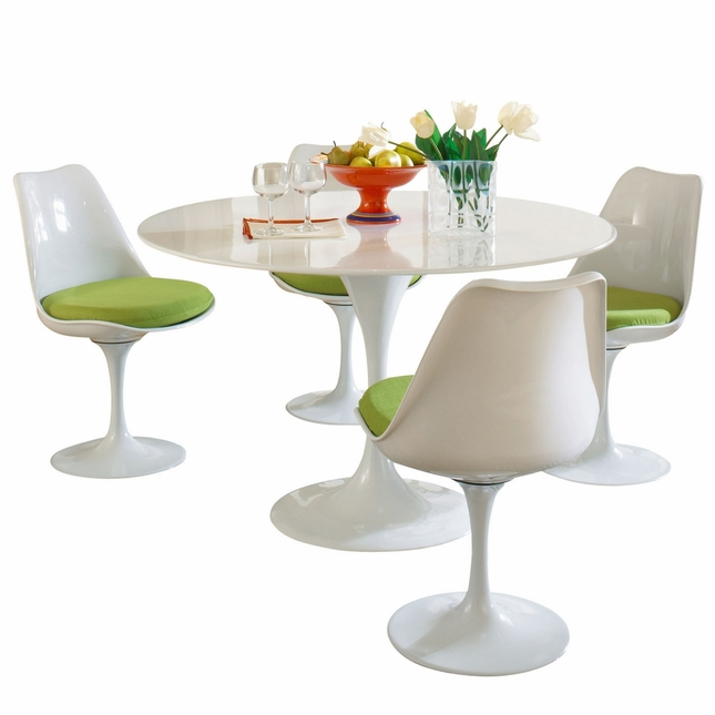 Lippa Modern 5 Piece Fiberglass Dining Set With Lacquered Finish, Green
