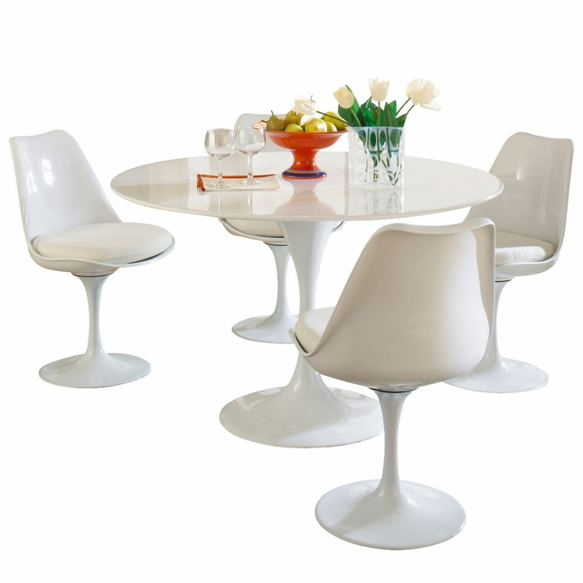 Lippa Modern 5 Piece Fiberglass Dining Set With Lacquered Finish, White