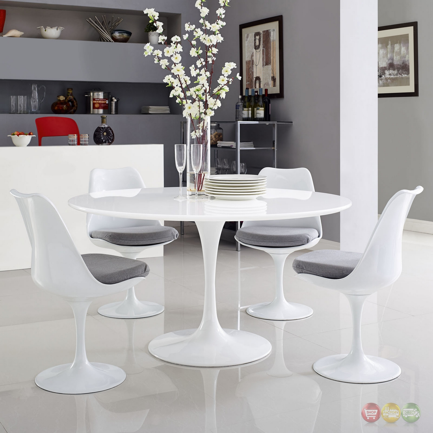 """Table Ronde Bois Blanc: Lippa Modern 54"""" Round Wood Top Dining Table W/ Lacquered"""