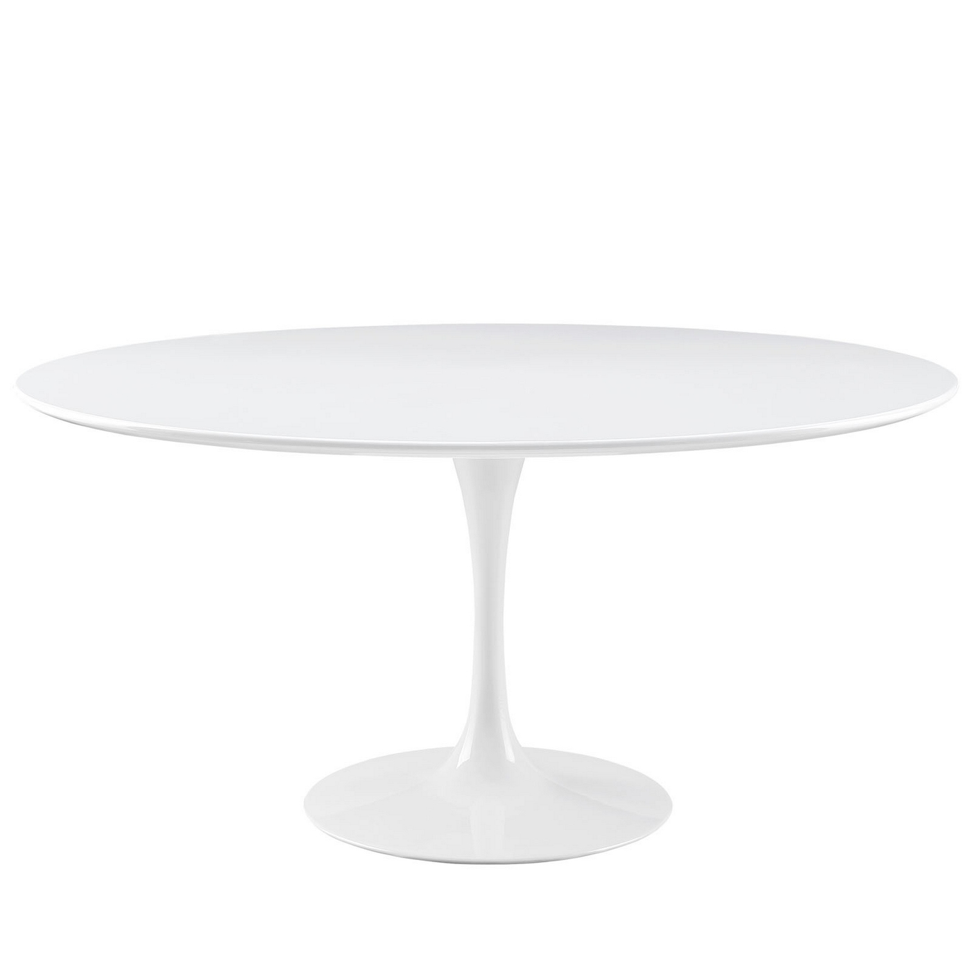 Lippa modern 60 round wood top dining table w lacquered - Modern white round dining table ...