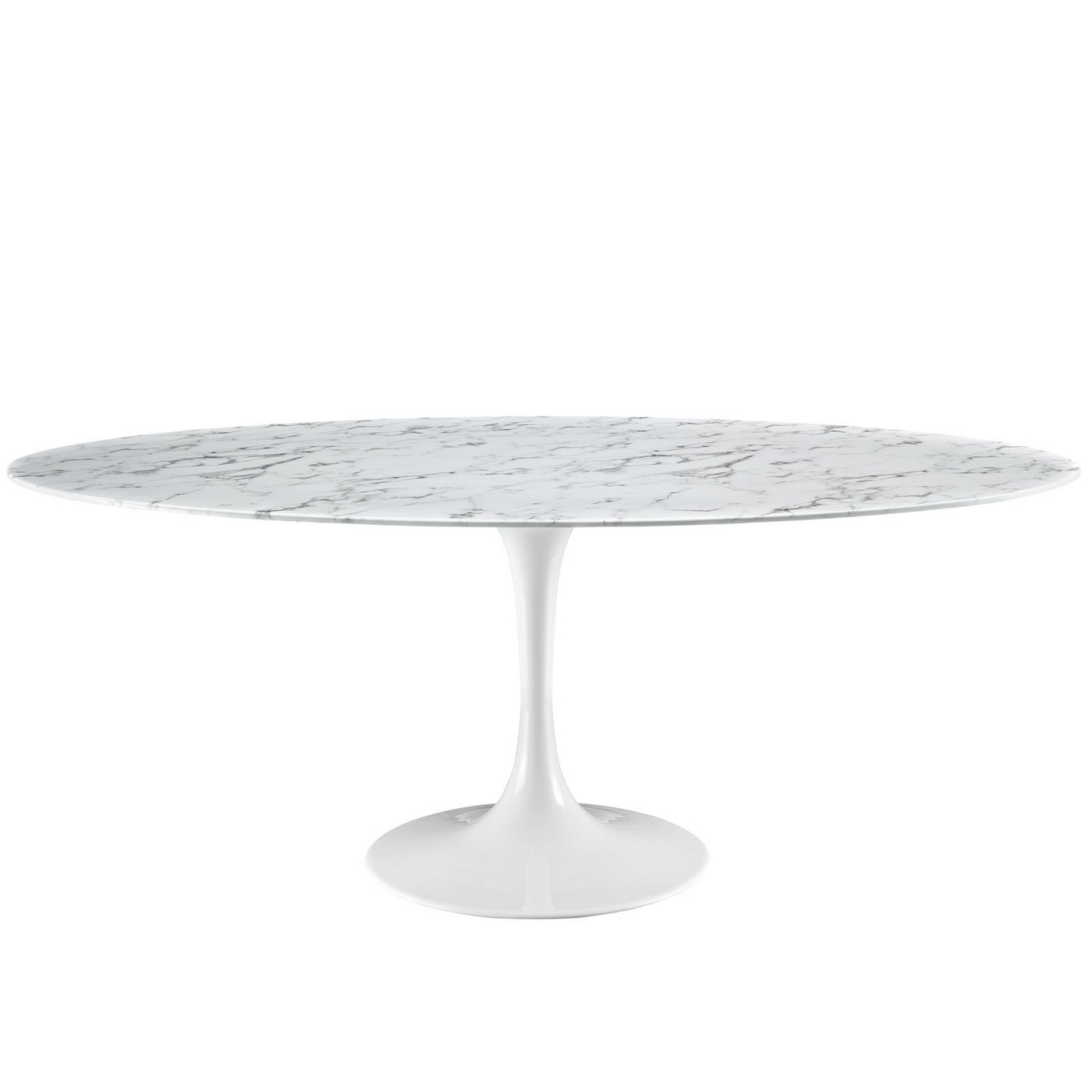 Lippa modern 78 faux marble dining table with lacquered finish white - White marble dining tables ...