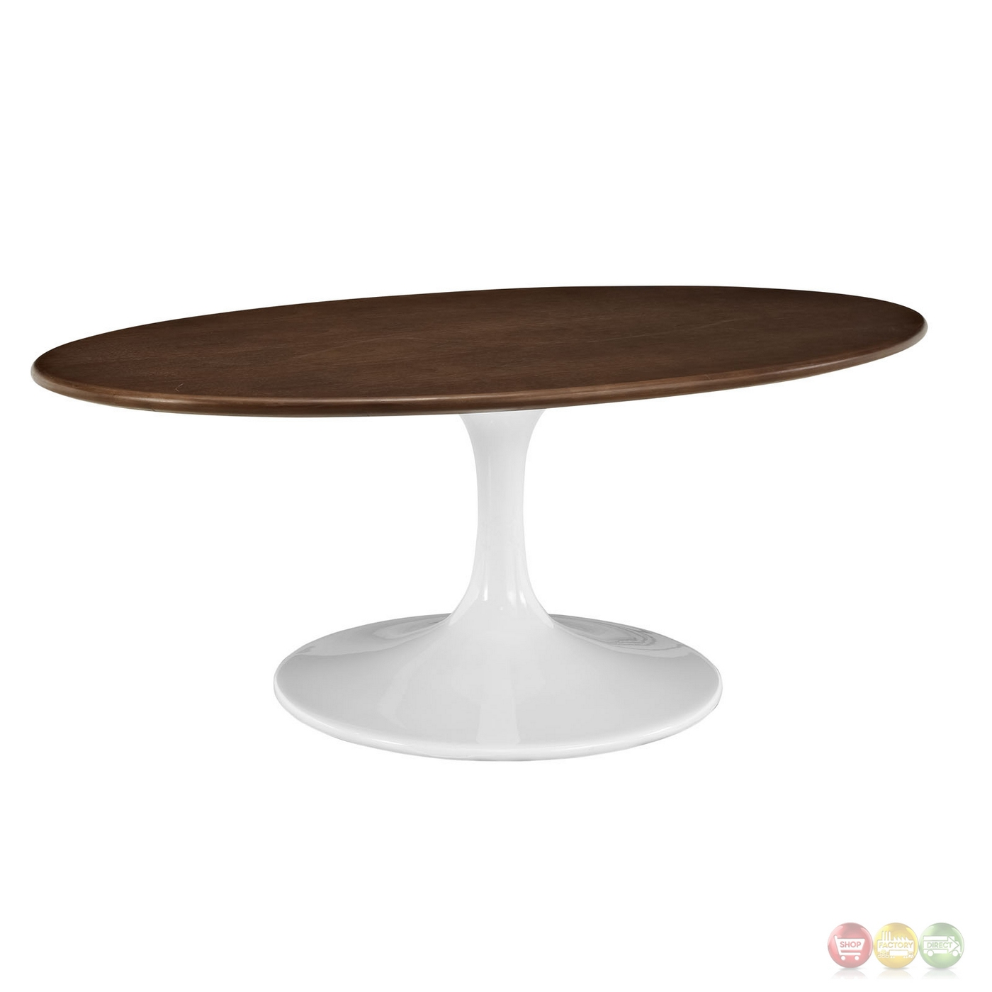 Lippa 42 walnut top coffee table with lacquered finish walnut veneer Oval shaped coffee table