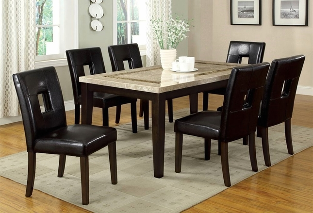 Lisbon Contemporary Dark Walnut Casual Dining Set with Leatherette Parson Chair