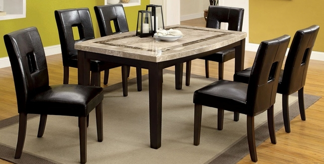 Lisbon Contemporary Dark Walnut Casual Dining Set with Oval Edge Table