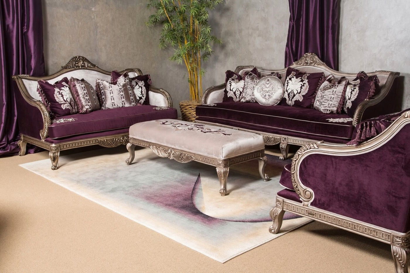 Purple Loveseat And Chair