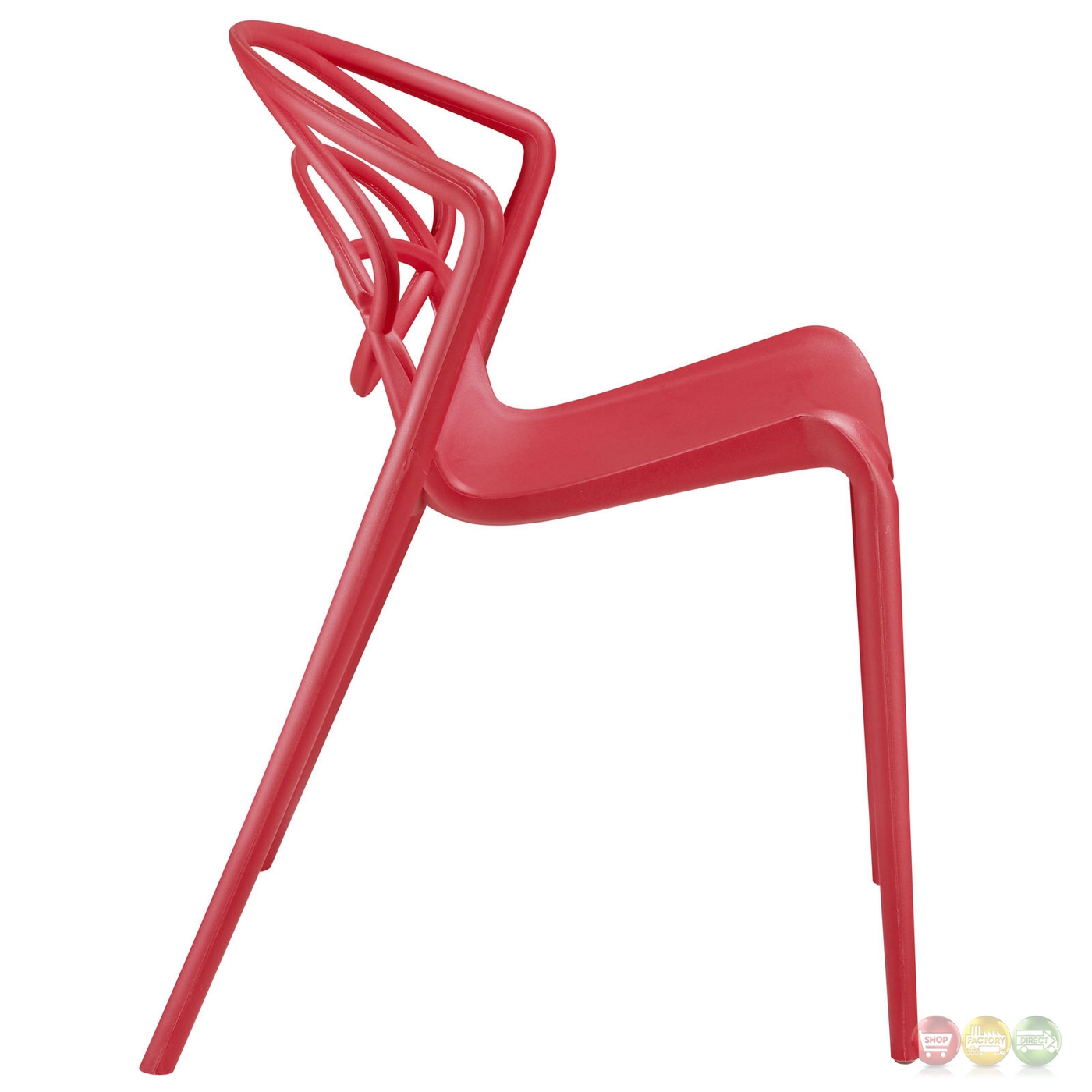 locus modern molded plastic stylish dining side chair red. Black Bedroom Furniture Sets. Home Design Ideas