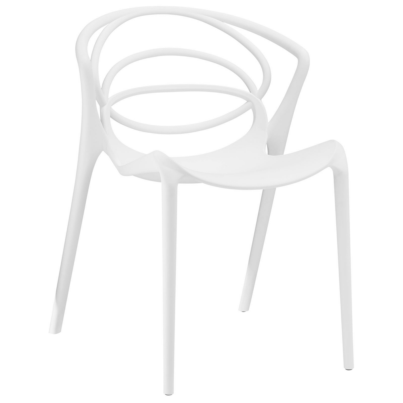 Locus Modern Molded Plastic Stylish Dining Side Chair White