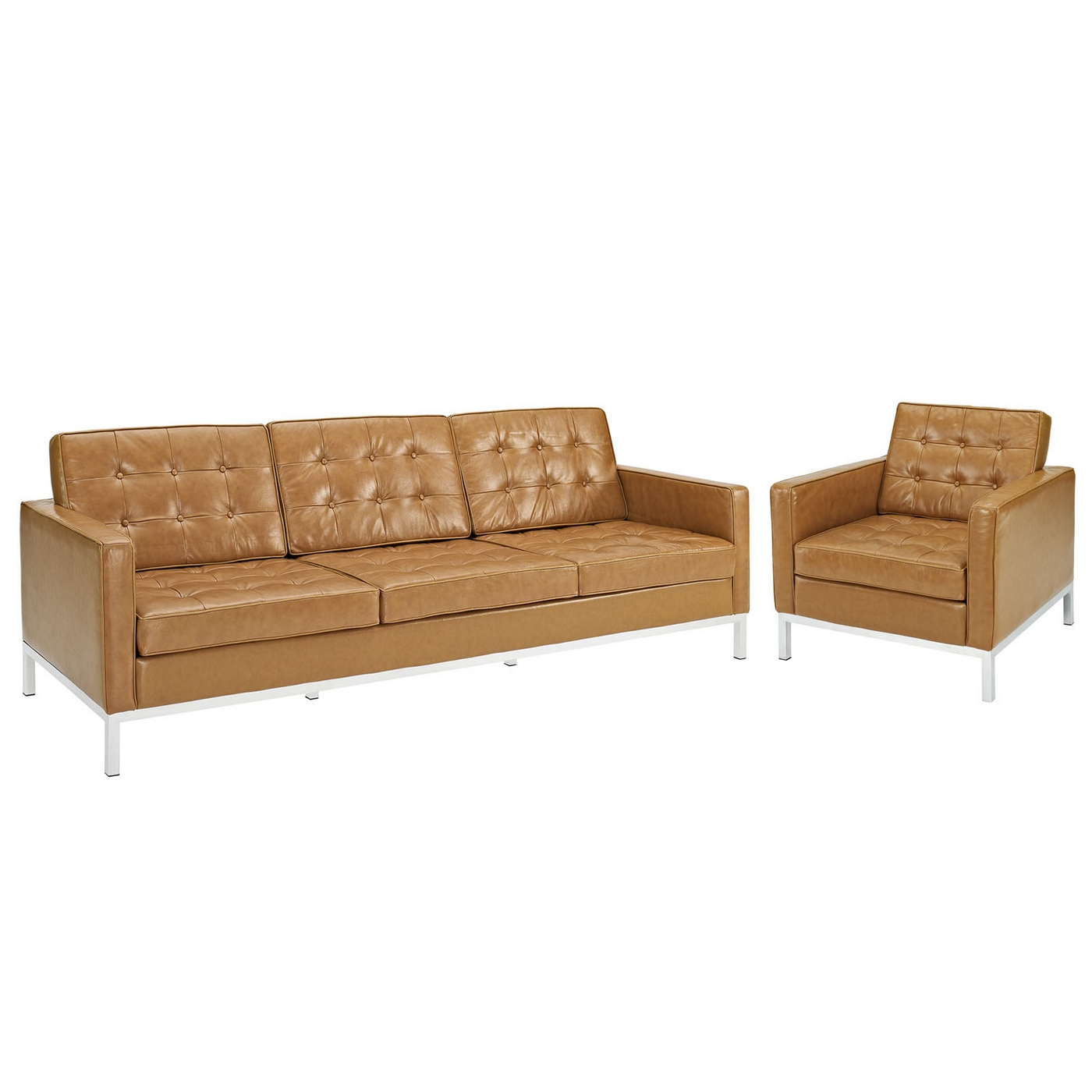 Loft contemporary 2pc button tufted leather armchair for Tan sofa set