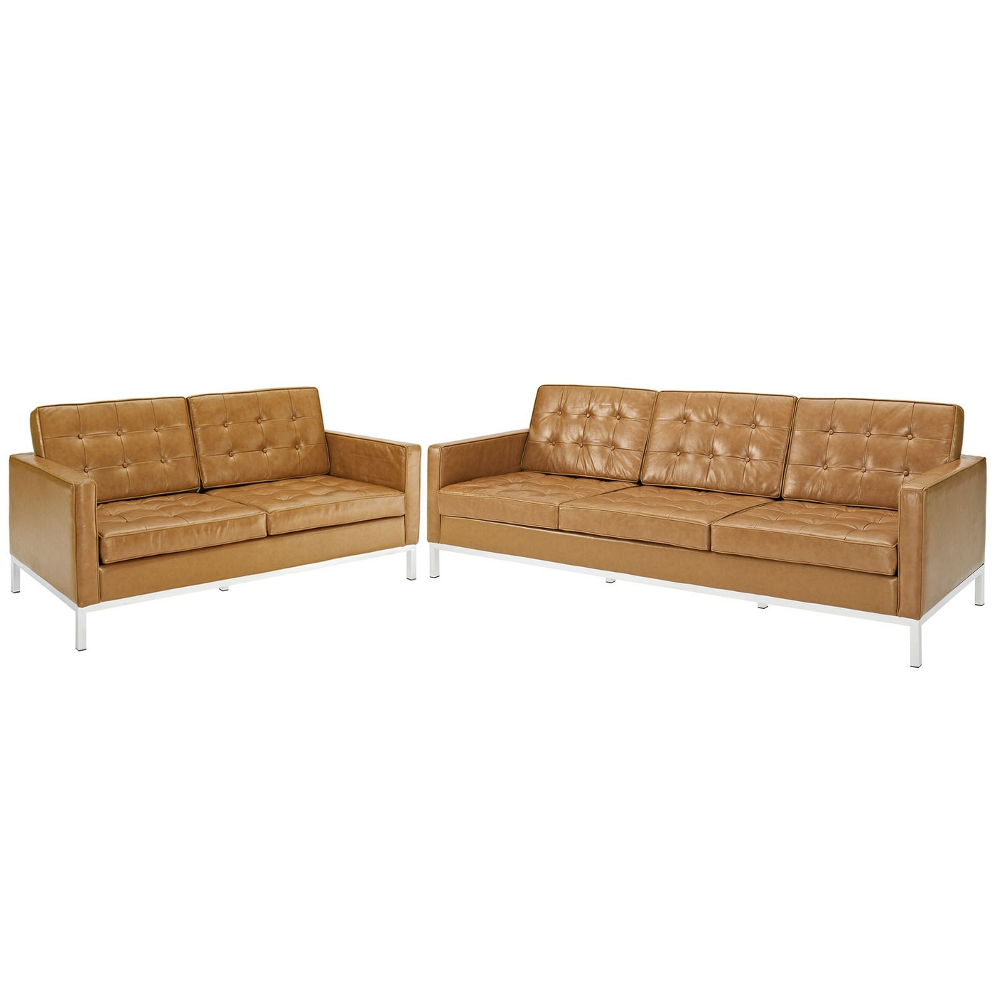Loft contemporary 2pc button tufted leather sofa and for Tufted couch set