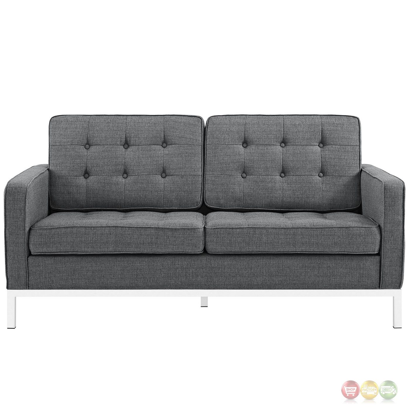 Loft Contemporary Button Tufted Upholstered Loveseat W Chrome Base Gray