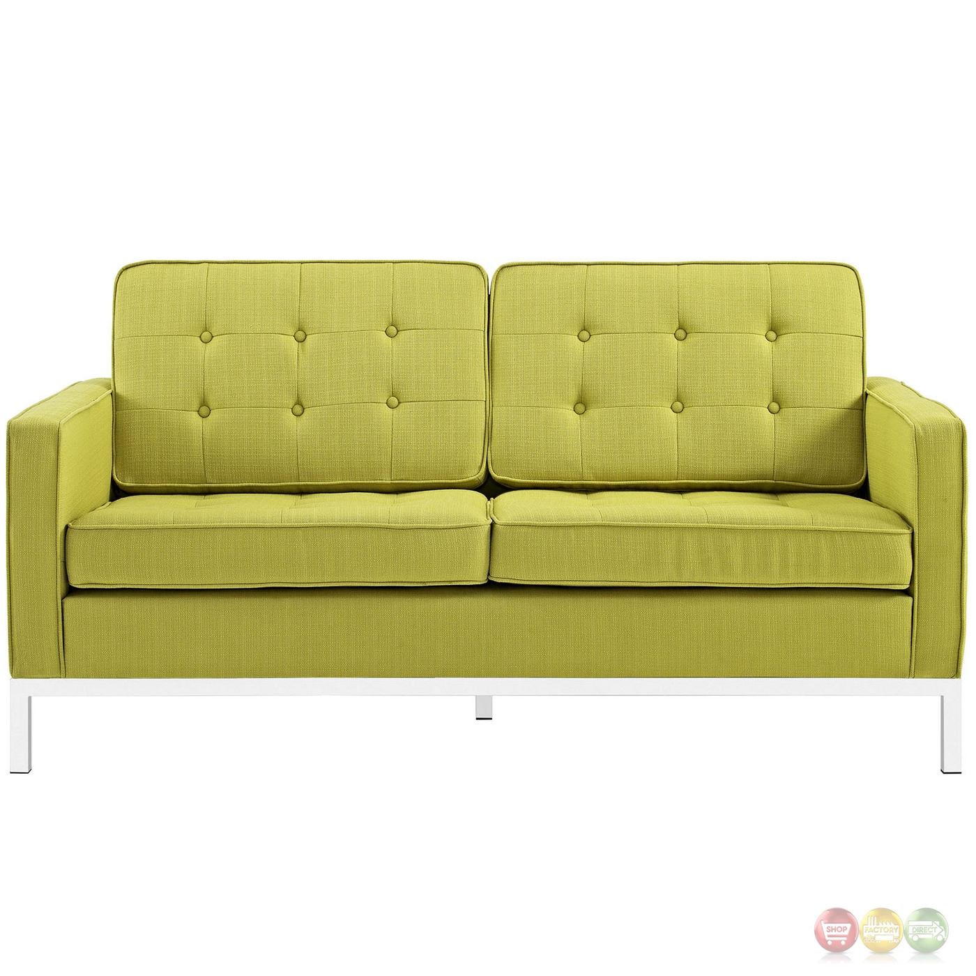 Loft Contemporary Button Tufted Upholstered Loveseat W Chrome Base Wheatgrass